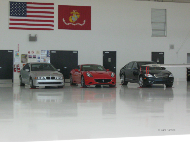 cars in the Scottsdale hangar
