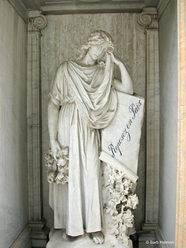 Rest in peace funerary sculpture