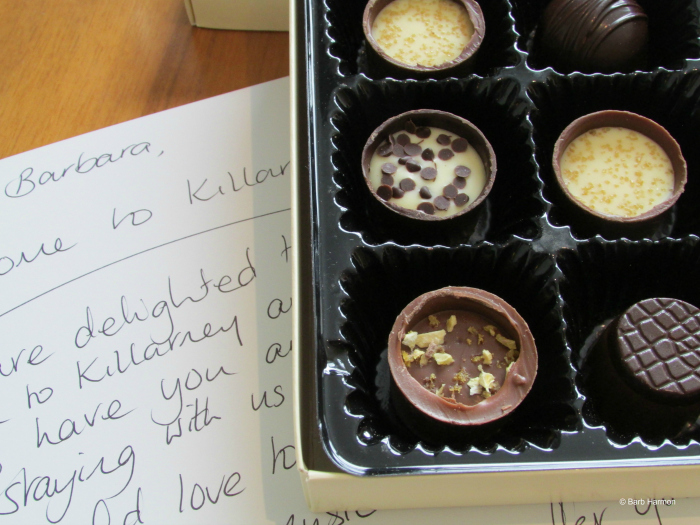 Handwritten welcome note with gift wrapped chocolates. I couldn't wait to open them. Killarney, Irelend