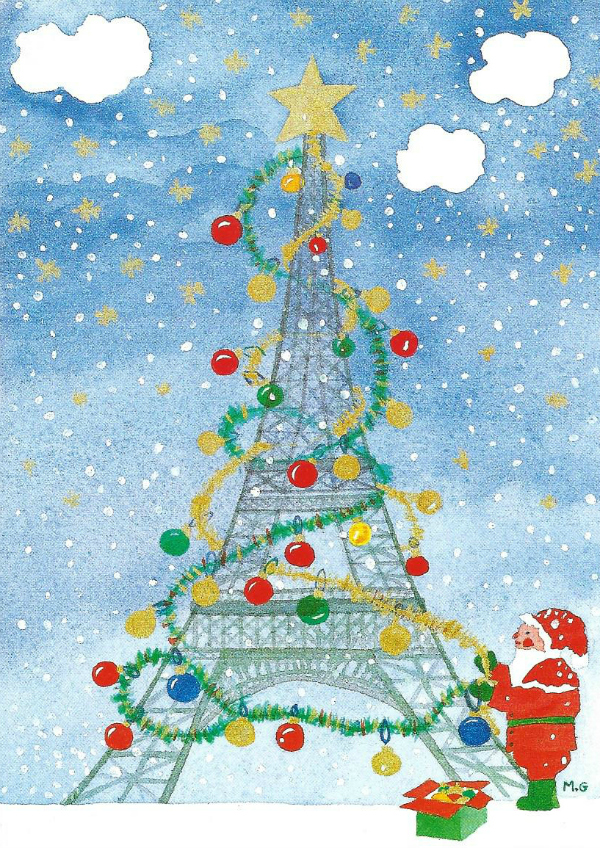 Santa decorating the Eiffel Tower