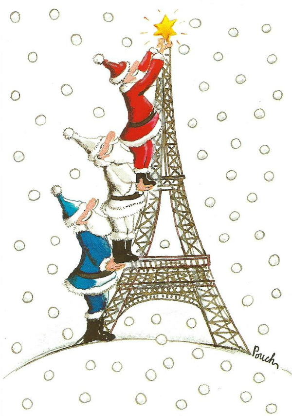 Three Santa's on the Eiffel Tower