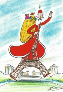Walking Eiffel Tour- Christmas postcard