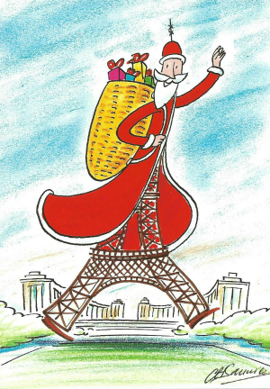 Walking Eiffel Tour- Christmas postcard