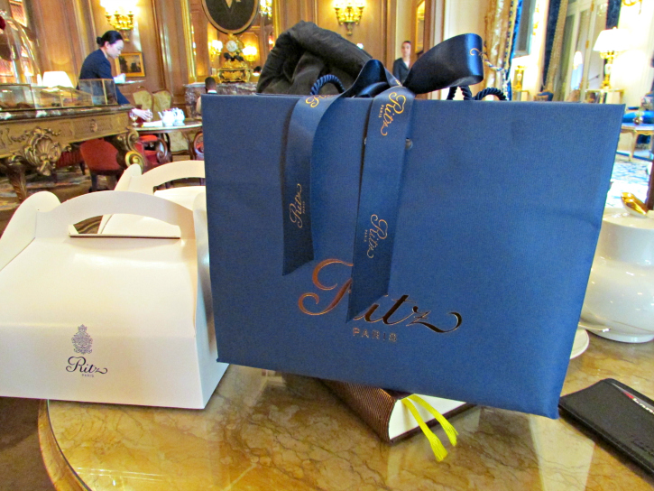 Goodie bag and takeaway boxes from the Ritz Paris